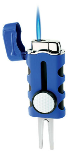 Blue Matte Vector Caddie Single Flame Jet Torch Cigar Butane Lighter - 9312
