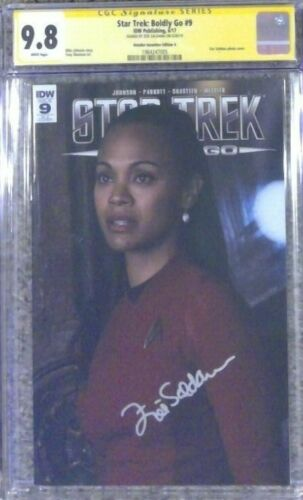 Star Trek: Boldly Go #9 photo variant__CGC 9.8 SS__Signed by Zoe Saldana
