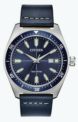 Citizen Eco-Drive Men's Brycen Blue Dial Leather Strap 43mm Watch AW1591-01L