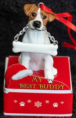 (Jack Russell Terrier Statue with Bone Best Buddy Dog Breed Christmas Ornament)