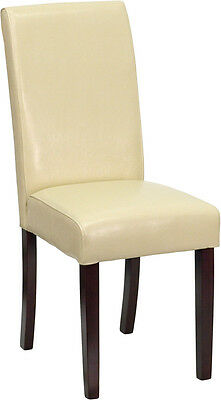 6 Ivory Leather Parsons Dining Restaurant Chairs