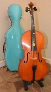 1/8 Zachary Cello with bow and fiberglass case with wheels