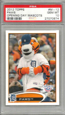separation shoes f58c9 a3787 2012 Topps Opening Day Mascots Paws Tigers PSA 10