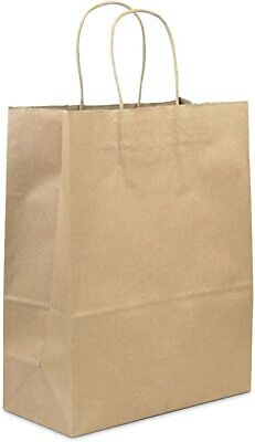 Kraft Paper Carrier Bags (Large) Twisted Rope Handle LUNCH BAG pk 250