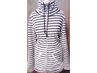 Ladies Navy Blue and Cream Striped Breton Style Soft and Warm Fleece Funnel Neck Jacket.Size 20/22.