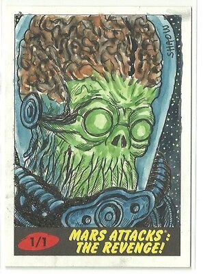 2017 Topps Mars Attacks The Revenge ! Martian Sketch Card by Shaow Siong