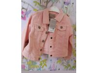 New with Tags RRP £17 NEXT Girls 1 -2 yr old Pink Jacket Coat Denim