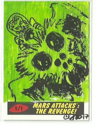 2017 Topps Mars Attacks The Revenge! Martian & Bug Sketch Card by Clinton Yeager