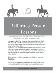 Certified Riding Instructor Offering Private Riding Lessons