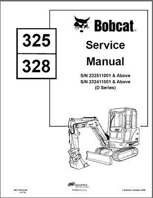 Bobcat 325 328 D-g Series Compact Excavators Service Repair Manual On A Cd