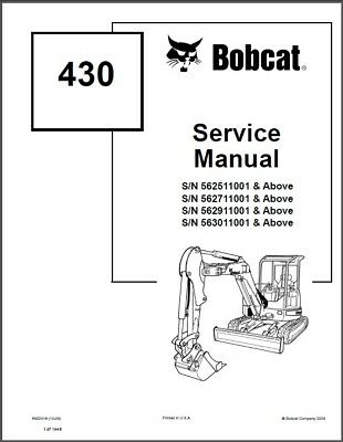 Bobcat 430 Compact Excavator Service Manual On A Cd