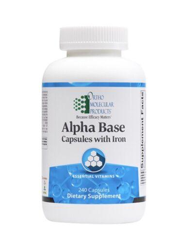 Ortho Molecular Alpha Base With Iron 240 Capsules Exp. 9/21 FRESHEST DATE! FAST