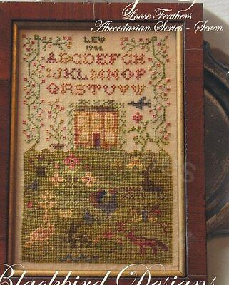 THE COUNTRY LIFE CROSS STITCH SAMPLER BLACKBIRD DESIGNS LOOSE FEATHERS