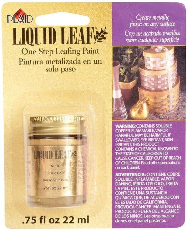 Liquid Leaf Craft Paint, Choose Classic Gold 6110 or Brass 6150 Crafts