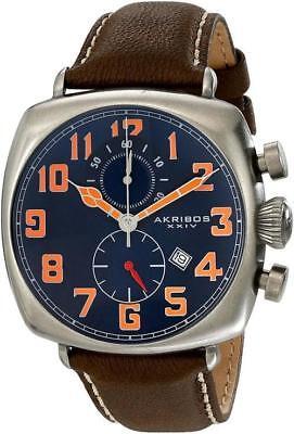 Akribos XXIV AK786BU Date Orange Accented Blue Dial Brown Strap Mens Watch