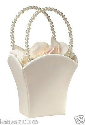New wedding plain satin ivory with vintage pearl handle flower girl basket