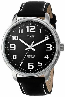 Timex T28071, Men's Large Easy Reader, Black Leather Watch, Indiglo, T280719J
