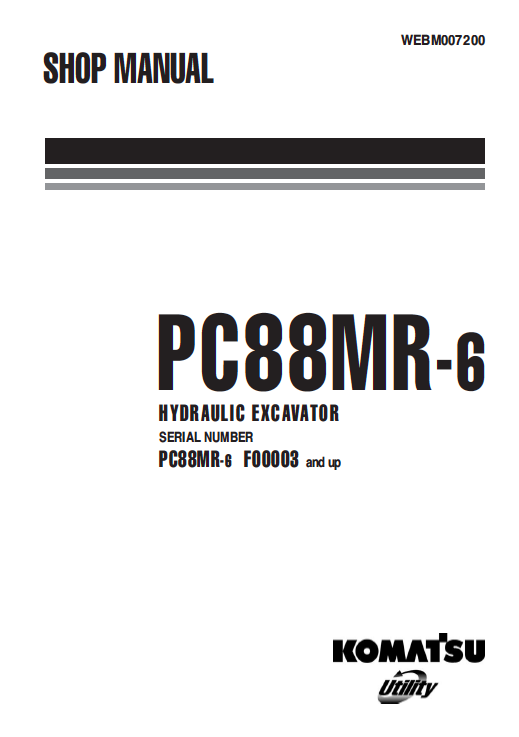 Komatsu Excavator Pc88mr-6 Shop, Service, Repair Manual
