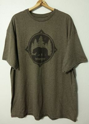 Wrangler Rugged Wear Bear Logo S/S T-Shirt Men's Size XL Heather Brown NEW Logo Heathered T-shirt