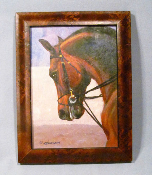 Artist Signed D. Hausmann Horse w/ Bridle Original Framed Painting on Board