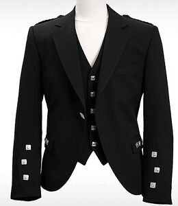 100% Wool Scottish Argyle kilt jacket with Vest & Black Tie
