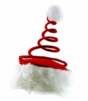 Santa Hat with Coil Spring - Red Holiday Xmas Christmas Cap - US Seller - New ()