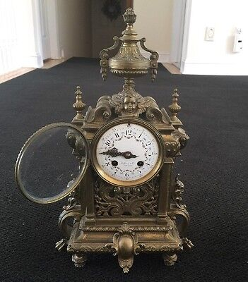 TIFFANY & CO. MANTEL CLOCK  BRONZE ANTIQUE VINTAGE METAL RUNNING! EARLY!