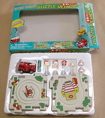 16 pcs FIRE TRUCK vehicle theme Puzzle track SET kids toy Battery operated game