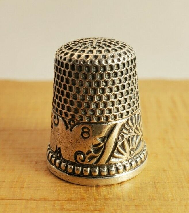Vtg Antique Sterling Silver Thimble Ketcham & McDougall KMD Size 8