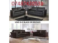 BLACK OR BROWN UNO 3+2 LEATHER SOFA £249 - 5 SETS LEFT