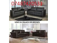 LUXURY UNO 3+2 SEATER LEATHER SOFA £249 BLACK/BROWN