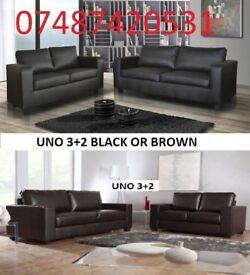 VEGAS 3+2 ITALIAN LEATHER SOFA BLACK OR BROWN £269
