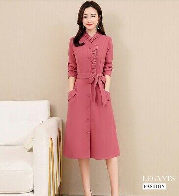 Trendy Fashion Dress (Trendy Korean Fashion Long Sleeve Ruffled Neck A-line Casual Spring Long Dress )
