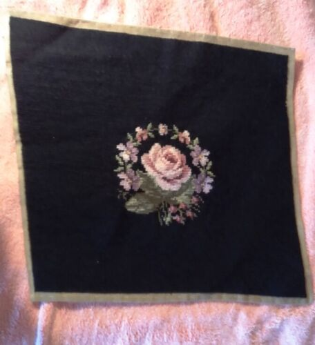 Vintage Med. Needlepoint Seat Cover  Finished Dusty Rose & Black Seat 15 x 16