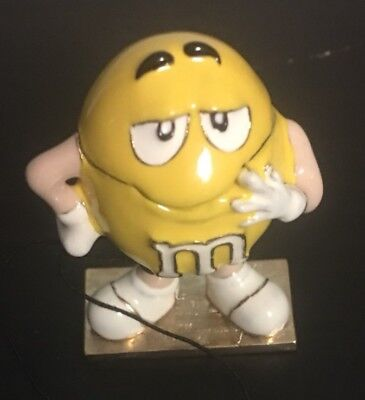 YELLOW M&M PEANUT MONET JEWELRY TRINKET BOX W CHARM ENAMELED NEW