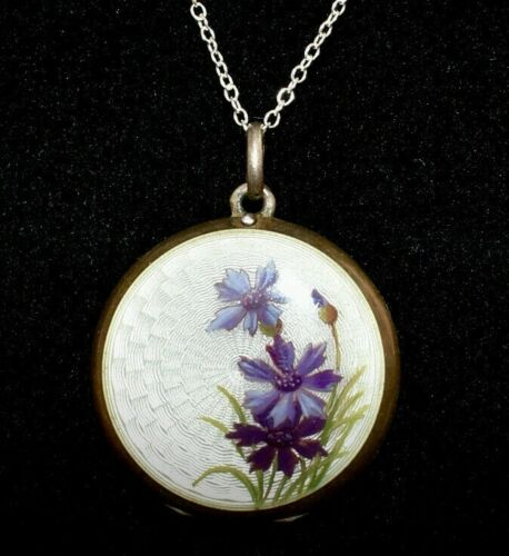 LOVELY 900 SILVER Antique *FLORAL* Dbl Sided *ENAMEL GUILLOCHE* Locket Necklace