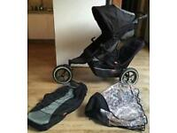 Phil and Ted Explorer double buggy with footmuff and double raincover