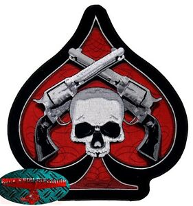 SKULL & PISTOLS ACE Backpatch groß Aufnäher Aufbügler Biker Patch Harley Chopper