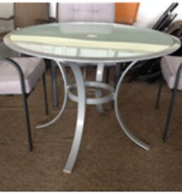 1.3m Diameter Round Table Grey Steel Frame With Frosted Glass