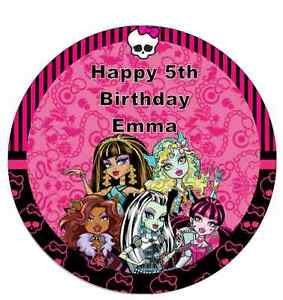 Monster High Personalised Cake Topper Edible Wafer Paper 7.5