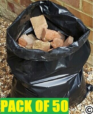50 HEAVY DUTY BLACK RUBBLE SACKS BUILDERS BAGS