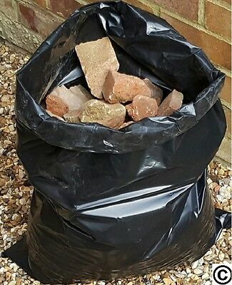 100 x EXTRA HEAVY DUTY BLACK RUBBLE BAGS/SACKS BUILDERS 32kg + High Strength!