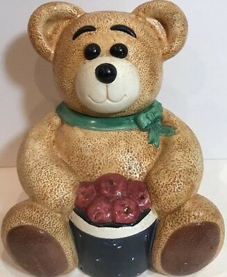 (Rare GKRO Ceramic Collectible Cookie Jar Brown Teddy Bear Red Apples Basket 12