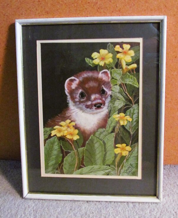 Artist Signed Ferret with Flowers Framed Matted Painting on Board - Adorable!