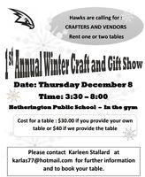 Looking for Vendors for Craft Show on December 8
