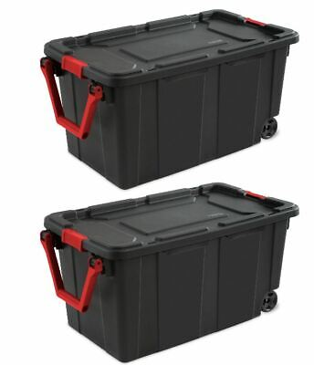 Wheeled Tote Plastic Storage Container Box 40 Gal 2 Pack Organizer With Lid Bin ()