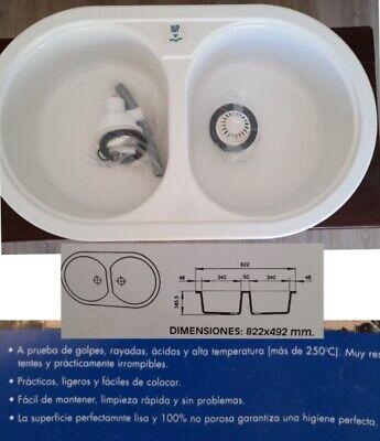 FREGADERO 2 SENOS SINTÉTICO COLOR BLANCO