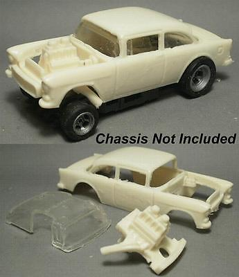 Resin HO SLOT CAR scale 55 Chevy Belair 210 gasser dragster 4 gear body  ()