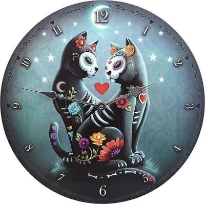 Sugar Skull Day of the Dead Couple Cats Lovers Starry Night Wall Clock 34cm