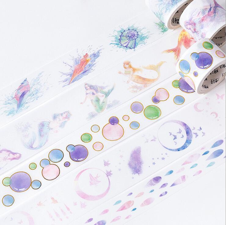 Mermaid series Bronzing Washi Paper Tape Album scrapbooking Stickers 5M